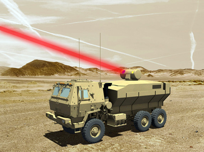 Artist's rendering of a truck-mounted 60 kW laser weapon system.