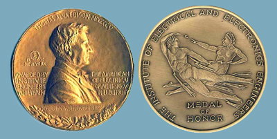 For techical achievement: the IEEE Edison Medal's obverse and reverse.