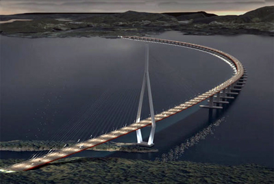 Artists impression of the proposed flloating bridge across the Bjørnafjord.
