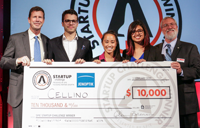 2017 SPIE Startup Challenge Winners Cellino accepting 1st place prize of $10,000.