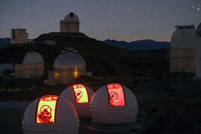 ExTrA telescope domes at La Silla Observatory in Chile