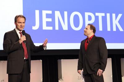 Startup sponsor Jenoptik's Ralf Kurschnereit with SPIE's Dirk Fabian