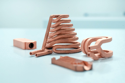3D printed components made of pure copper.