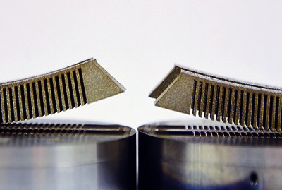 Component preheated with VCSEL (right) has significantly less distortion.