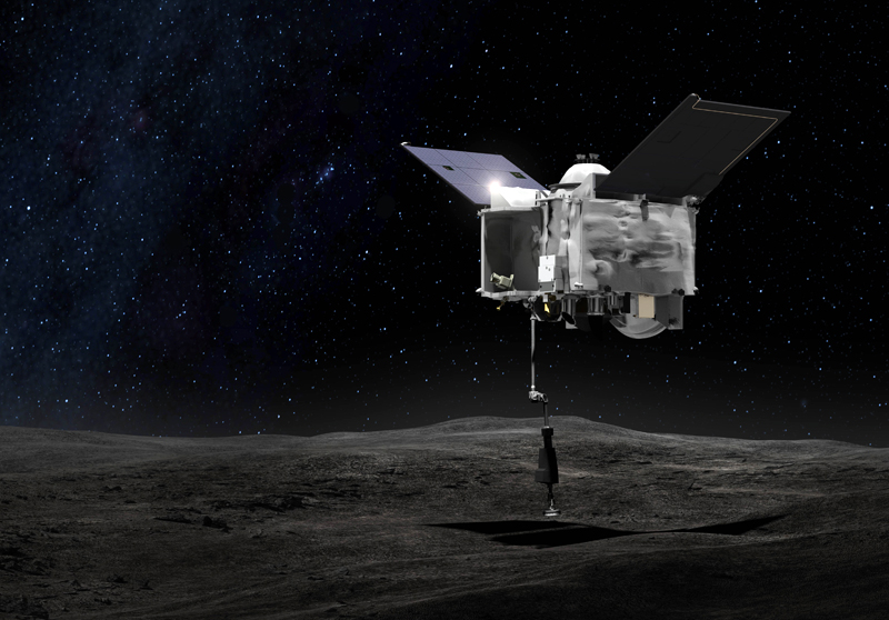 First contact: OSIRIS-REx probe takes a close look at asteroid Bennu.