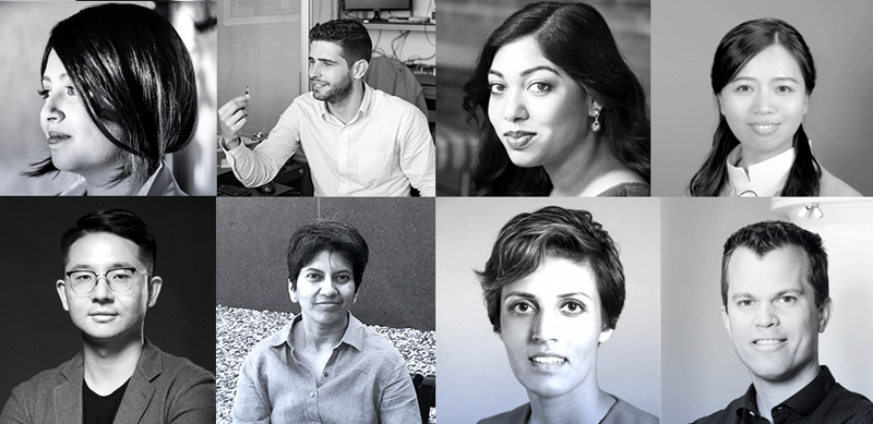 MIT Technology Review's 2018 tips for the top: (from upper left) Nabiha Saklayen, Carlos Abellan, Shinjini Kundu, Huanping Zhou, (lower left) Yin Qi, Archana Kamal, Prineha Narang, and Menno Veldhorst.