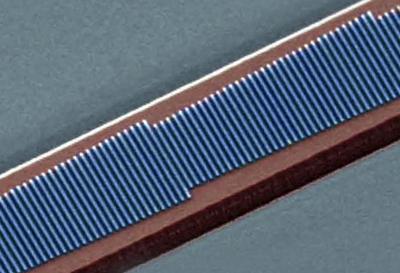 A fabricated device showing four phased antenna arrays consisting of silicon nano-rods.