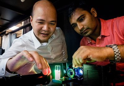 Steve Cuong Dang (left) with Sujit Kumar Sahoo experiment with the camera.