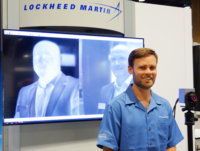 Seeing double: Lockheed Martin's Brendan McCay with camera and dual images.