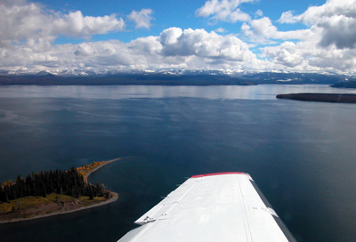 Over and trout: View from the aircraft scanning Yellowstone Lake for invasive fish.