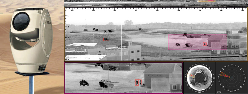 We can see you: HGH's Spynel X long-range panoramic surveillance system (l) enables automatic search and track of multiple targets of interest (IR rendition).