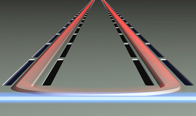 Principle of operation of the silicon Brillouin laser in operation. Click for more information.