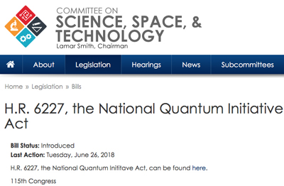 The National Quantum Initiative Act generates a comprehensive US-wide policy.