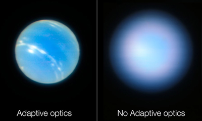 Images of Neptune obtained during testing of VLT's Narrow-Field adaptive optics.