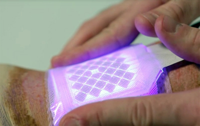 Patched up: Blue light is known for its anti-microbial, anti-inflammatory effects.