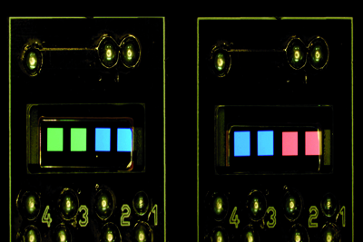 Test OLEDs on silicon substrate patterned by e-beam.