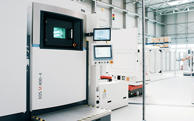 Heart of the pilot line is EOS's M 400-4 four-laser system for industrial 3D printing.